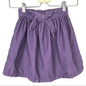 Hanna Andersson Purple Corduroy Bow Skirt Sz 8